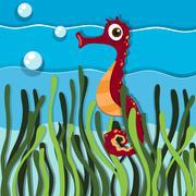 Seahorse swimming under the ocean Stock Illustration