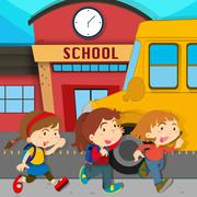 Children running in front of school Stock Illustration
