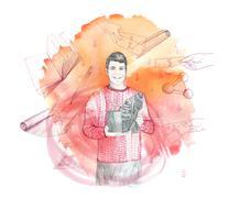 Inventor using crowdfunding - stock illustration