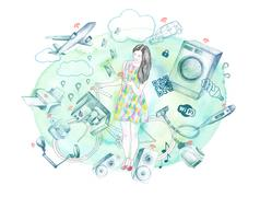 Stock Illustration of Young woman connected to appliances and technology through Internet of Things