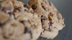Biscuit chip cake chocolate cookies slow dolly passing by 4K 2160p 30fps Ultr Stock Footage
