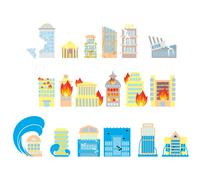 Disaster icon collection. Destruction of buildings set of icons. Earthquake F - stock illustration