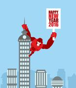 Monkey on skyscraper. King Kong holds a sign with new year. Huge strong Goril Stock Illustration