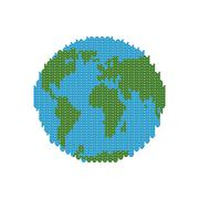 Knitted Earth. Globe made of wool. Winter version of  planet. Crochet peace c - stock illustration
