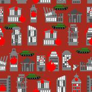 War seamless pattern. Ruined city. Tanks in town. Skyscrapers and public buil - stock illustration