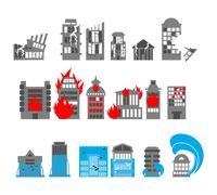 Set building disasters destruction. Flood and fire in public buildings. Tsuna Stock Illustration