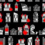 Ruined city seamless pattern. Ruins of buildings. Fire in homes. Background o Stock Illustration