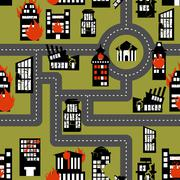 Earthquake in seamless pattern. Urban structures destroyed. Fire in homes. - stock illustration