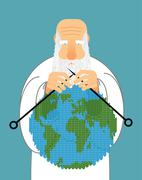 God Making Earth. Knitting World. Establishment of wool on planet. Grandfathe - stock illustration