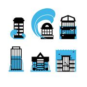 Flood and tsunami icons set houses. Flooding of buildings. Public structures  Stock Illustration