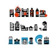 Stock Illustration of Silhouettes of buildings from natural disasters. Destruction of city. Floodin