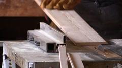 Carpentry.Carpenter sawing wood.Circular saw.Close up Stock Footage