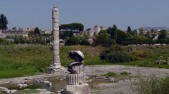 Kusadasi, Turkey -  Temple of Artemis Near Ephesus - Zoom Out - stock footage