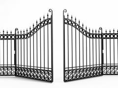Black iron gate - stock illustration