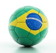 Brazil flag on football - stock illustration