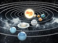 Solar system illustration.  Elements of this image furnished by NASA. Stock Illustration