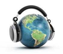 Headphones on blue globe.  Elements of this image furnished by NASA. Stock Illustration