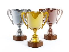 Gold, silver and bronze cups - stock illustration
