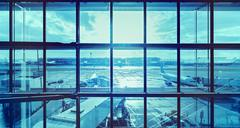 Futuristic blue picture of an airport, transportation and business travel con Kuvituskuvat