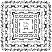 Set of vector decorative elements. Square frames with hand drawn ornament - stock illustration