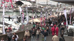 Visitors at Genoa Boat Show Stock Footage