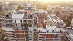 Under construction high residential building on a background of the city in the Stock Footage
