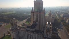 Moscow State University view from the height of the aerial - stock footage