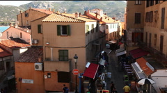 Busy street in the town of Calvi, Corsica Stock Footage