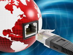 Global network with a network socket on the globe - stock illustration