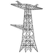 Silhouette of high voltage power lines. Vector  illustration Stock Illustration