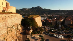 View from the Citadel at Calvi, Corsica Stock Footage