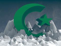 muslim symbol icon on low poly surface - stock illustration