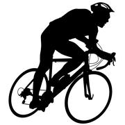 Stock Illustration of Silhouette of a cyclist male.  vector illustration.