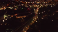 Aerial city night tacking cars downtown Stock Footage
