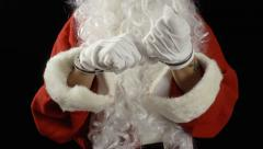 Santa Claus handcuffs front hopeless Stock Footage