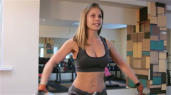 Bodyfitness workout. Exercises with dumbbells - stock footage
