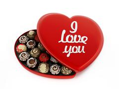 Heart shaped chocolate box with I love you text - stock illustration