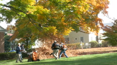 Mans with leaf blowers clean up autumn leaves Stock Footage