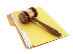 Gavel on folder - stock illustration