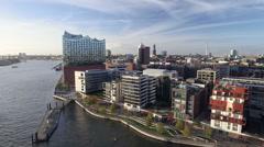 Hamburg Elbphilharmonie and Hafencity Aerial View Stock Footage