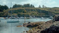 Wooden boat into Sauzon's port - stock footage