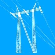 Silhouette of high voltage power lines. Vector  illustratio - stock illustration