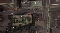 Aerial city descending bird view rooftop view downtown Stock Footage