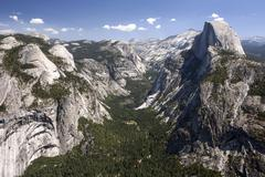 View from Glacier Point to Yosemite Valley and Half Dome Yosemite National Park Stock Photos