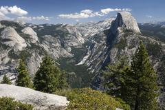 View from Glacier Point to Yosemite Valley and Half Dome Yosemite National Park - stock photo