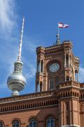 Town Hall with the Berlin flag and TV Tower BerlinMitte Berlin Germany Europe Kuvituskuvat