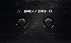 Speakers Control on an Old Amp - stock photo