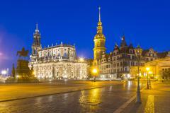 Theaterplatz theatre square with equestrian monument Hofkirche church castle - stock photo