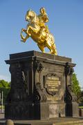 Stock Photo of Golden horseman equestrian statue of the Saxon elector and Polish King Augustus