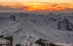 View of Hintertux Glacier and Olperer snowy mountains Tux Alps Tyrol Austria Stock Photos